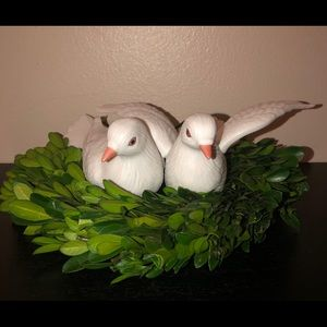 "Homco Set of 2 Porcelain""White Doves""Figurines"